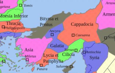 Podział Azji Mniejszej na prowincje utrzymujący się z małymi zmianami od I w n.e. do reformy administracyjnej Dioklecjana u schyłku III w. n.e