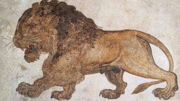 Potężny lew na rzymskiej mozaice