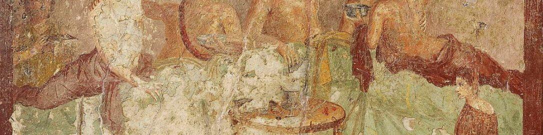 Uczta rzymska na fresku z Pompejów