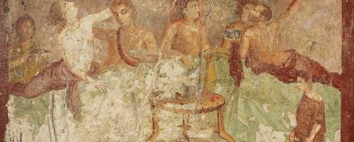 Roman feast on the fresco of Pompeii