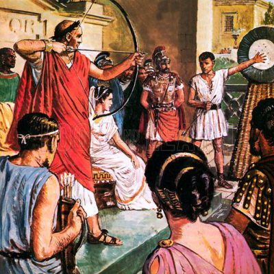 Domitian shooting a bow. Picture of Clive Uptton