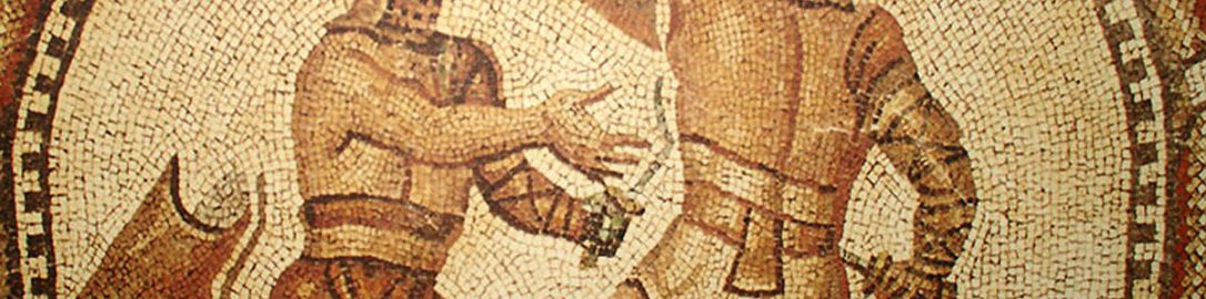 Mosaic showing gladiators from Nimes