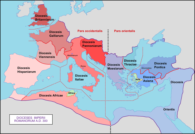 The division of the Roman Empire into dioceses in 300 CE