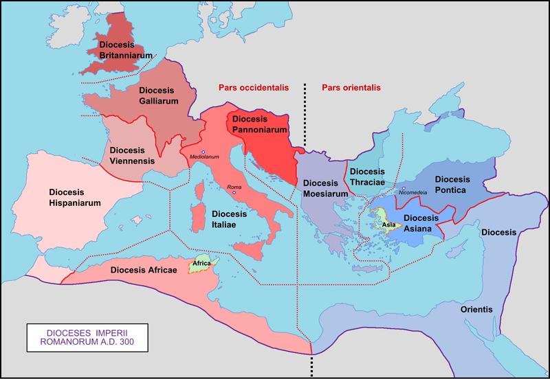 Podział Imperium Rzymskiego na diecezje w roku 300 n.e.