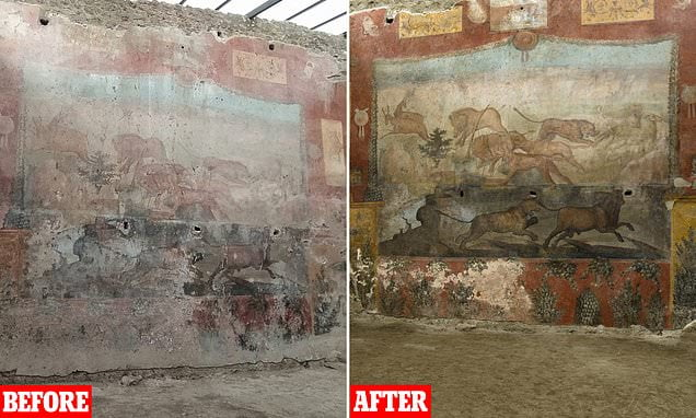 Comparison of the fresco from Casa dei Ceii before and after restoration