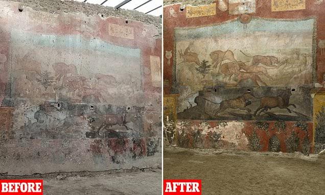 Porównanie fresku z Casa dei Ceii przed i po renowacji