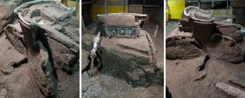 Four-wheeled ceremonial chariot was discovered outside Pompeii walls