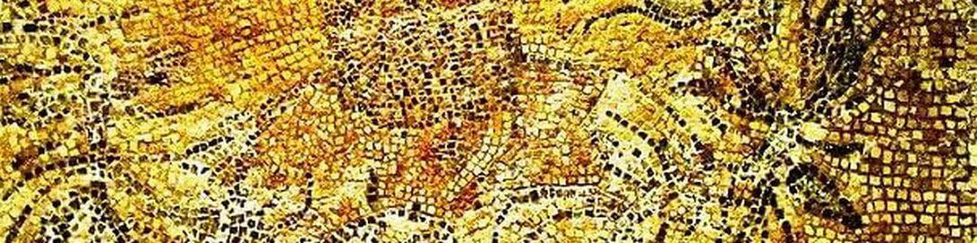 Roman mosaic showing Greek poet Alcman