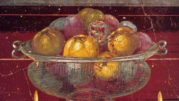 Glass vessel with pomegranates and apples on fresco