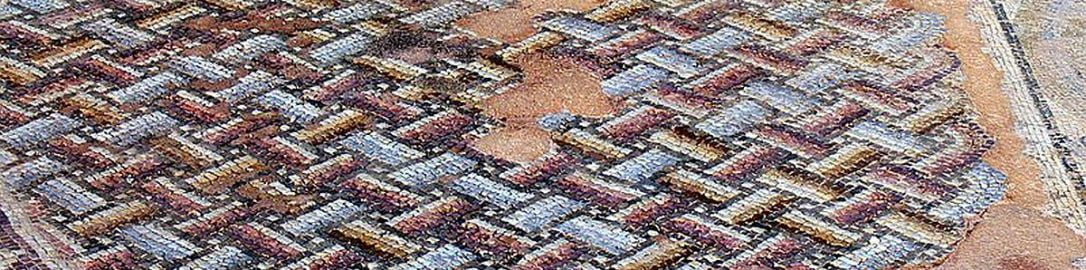 Floor mosaic with geometric patterns