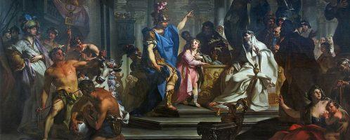 Obraz Claudio Francesco Beaumonta, Hannibal przysięgający nienawiść Rzymianom (obraz z 1730 r.), Musée des beaux-arts de Chambéry, Francja