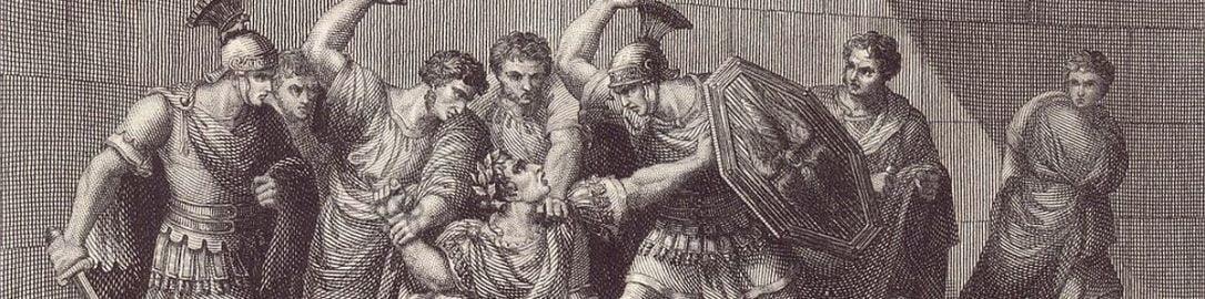 A print showing the murder of Caligula