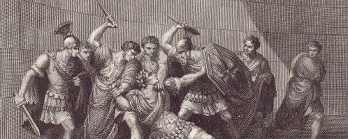 Rycina ukazująca zamordowanie Kaliguli