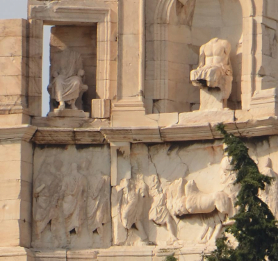 Sculptures on the monument of Philopappos