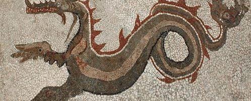 Dragon on ancient mosaic