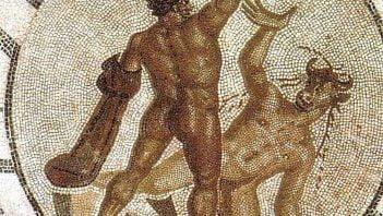 Theseus killing Minotaur