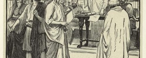 Court scene in old Rome expulsion of the Sophists