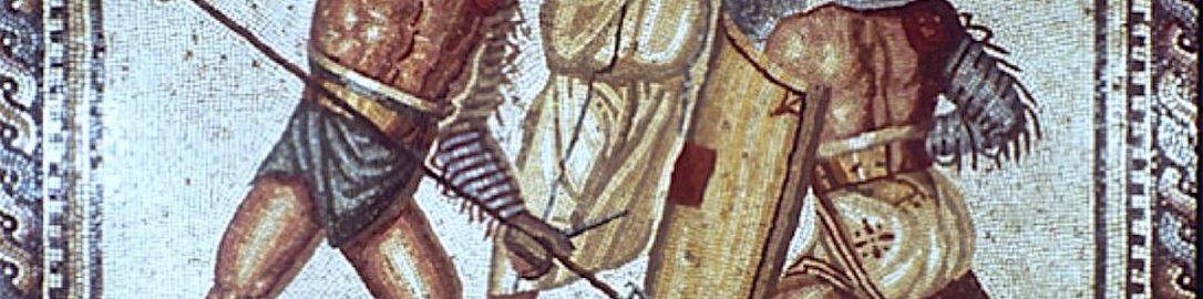 Mozaika rzymska ukazująca walkę gladiatorów oraz sędziego
