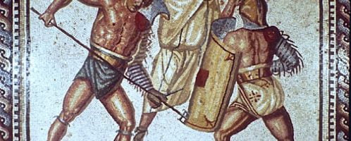 Roman mosaic showing the fight between gladiators and a referee
