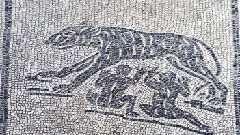 Mozaika ukazująca karmiącą wilczycę