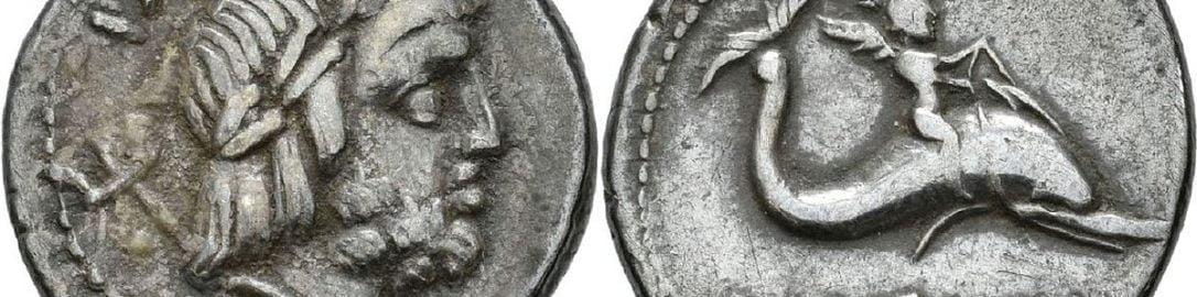 Neptune and Cupid on Roman denarius