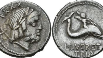 Neptun i Kupidyn na denarze rzymskim
