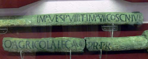 Roman water pipes with an inscription confirming that it was created during the reign of Vespasian (69-79 CE). The object was found in Chester (England)
