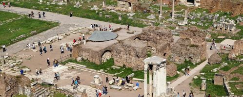 View of the ruins of the Temple of the Divine Caesar in the Forum Romanum in Rome