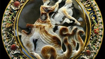 Cameo showing Claudius and his wife in chariot