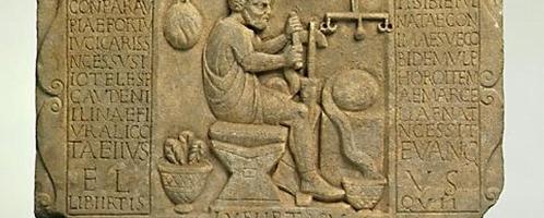 Marmurowa płyta z wizerunkiem sprzedawcy wełny