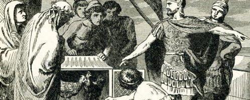 Publiusz Klaudiusz Pulcher rozkazujący wyrzucić kurczaki do wody