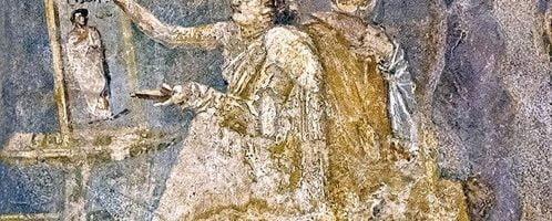 Rzymski fresk z Pompejów przedstawiający malarkę