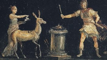 Fresco depicting scene of making offering to Diana