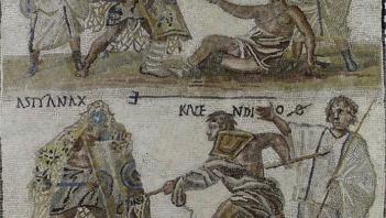 Gladiatorial fight - secutor and retiarius