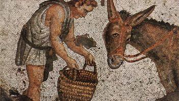 Mosaic showing feeding donkey
