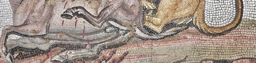 Roman mosaic showing lion biting horses