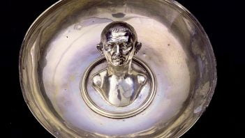 Roman vessel with protruding bust of man