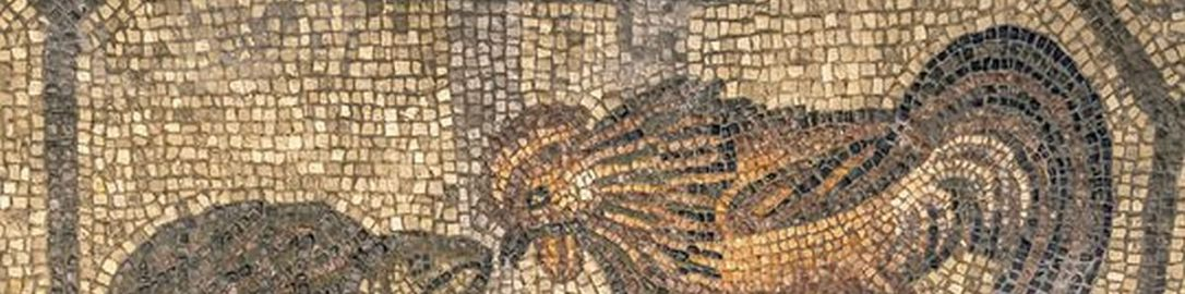 Fight between rooster and turtle on Roman mosaic