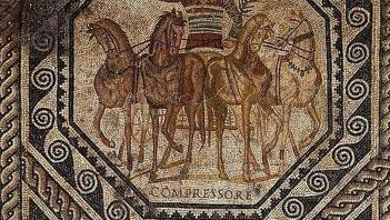 Roman mosaic showing triumphant coachman
