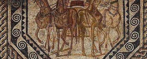 Rzymska mozaika ukazująca triumfującego woźnicę