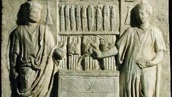 Roman relief showing cutlery shop
