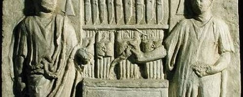 Rzymski relief ukazujący sklep ze sztućcami