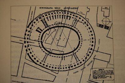 Plan of the Roman amphitheater in Catania