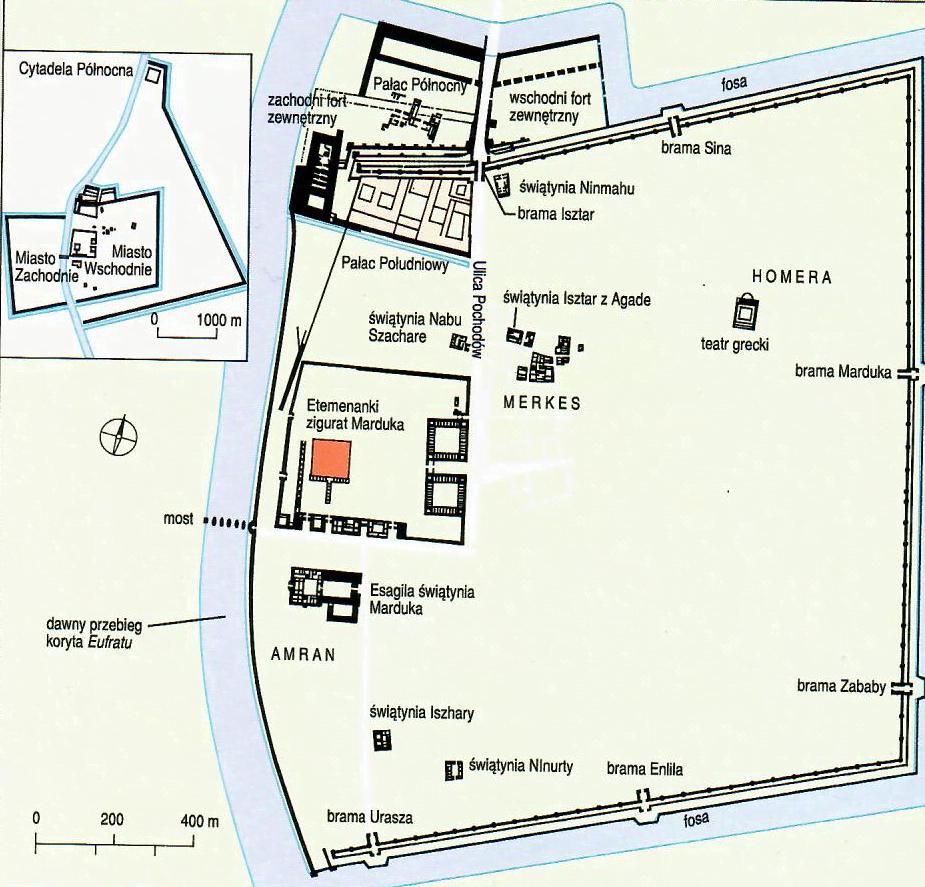 Plan Babilonu II połowy I tys. n.e.; Roaf M., Mezopotamia, tlum. H. Turczyn Zalewska, Warszawa 1998, s. 192