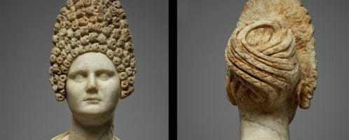 Bust of Roman woman with fashionable hairstyle during rule of Flavian dynasty