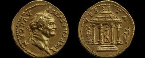 Roman gold coin of Vespasian
