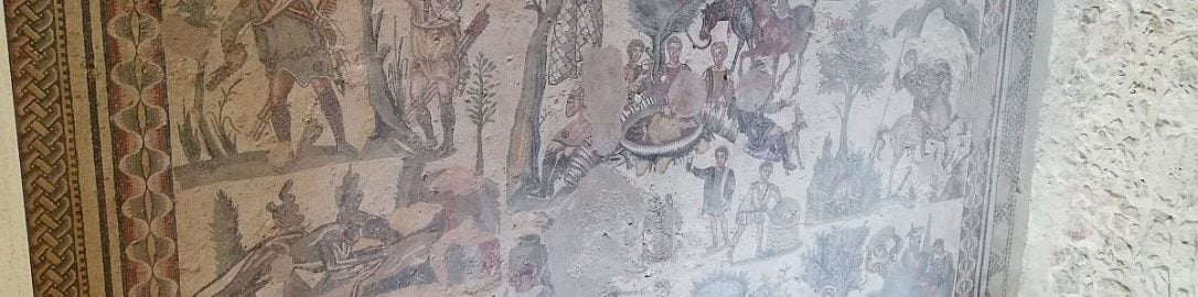 Scenes of hunting in Roman mosaic