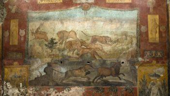 Dzikie zwierzęta i natura na rzymskim fresku
