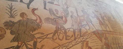 Rzymska mozaika ukazująca załadunek strusi na pokład statku