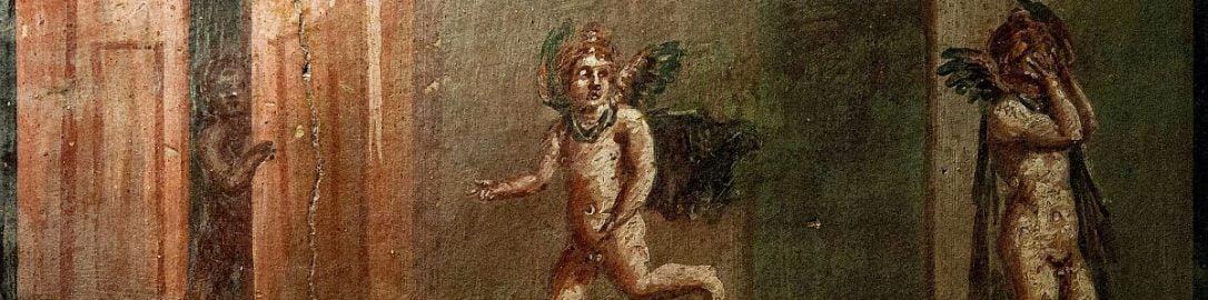 Rzymski fresk przedstawiający Amorki bawiące się w chowanego
